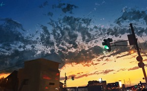 Picture the sky, dawn, morning, traffic light