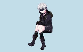 Picture shorts, boots, boy, jacket, knee, sitting, eye patch, Nier Automata, YoRHa No 9 Type S
