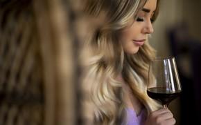 Picture girl, wine, glass, blonde, profile, bra, curls, Chris Bos