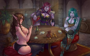 Picture card, girls, the game, game, card game, elf, Heartstone
