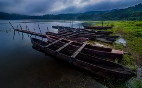 Picture forest, summer, the sky, grass, clouds, lake, pond, river, overcast, shore, vegetation, boat, group, boats, …