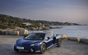 Picture sunset, coast, McLaren, the evening, supercar, 2019, McLaren GT