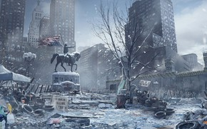 Wallpaper The Division, the city, horse, monument, winter, Tom Clancy's The Division, snow
