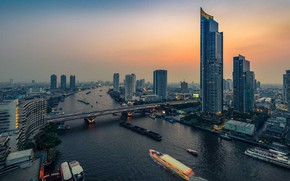 Picture bridge, river, Thailand, Bangkok, the view from the top