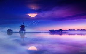 Picture Reflection, Fog, Night, Mill, Lake, The moon, House, Moon, Night, Fog, Genes Raz von Edler, …