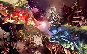 Picture collage, guys, warriors, samurai, Sengoku Basara, The Era Of Unrest