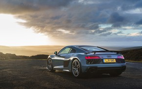 Picture sunset, Audi R8, V10, 2019