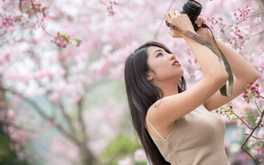 Picture girl, spring, camera, Asian, flowering, cutie