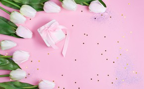 Picture background, pink, gift, tape, tulips, white
