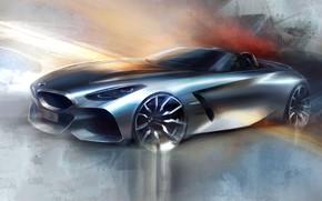 Picture figure, silver, BMW, sketch, Roadster, BMW Z4, Z4, 2019