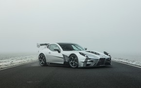 Picture asphalt, fog, supercar, Ginetta, Akula, V8, 2019, 600 HP