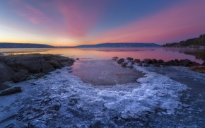 Picture sunset, shore, coast, ice, the evening