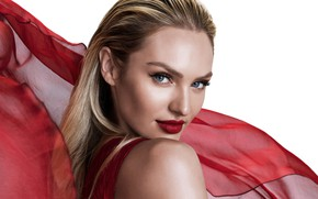 Picture look, model, portrait, makeup, hairstyle, blonde, white background, beauty, in red, Candice Swanepoel, Candice Swanepoel, …