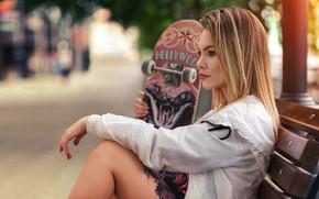 Picture girl, pose, hand, profile, skateboard, Artem Castle
