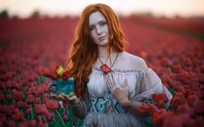 Picture field, look, girl, flowers, mood, mug, tulips, neckline, freckles, red, redhead, shoulder, long hair
