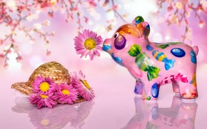 Picture flowers, pink, toy, candy, pink, pink background, pig, Milota, pig, pig, piggy Bank, розовый сон …