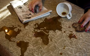 Picture map, coffee, world map, spill, Erik Johansson