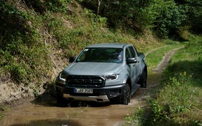 Picture grey, Ford, Raptor, pickup, Ranger, 2019, in a puddle