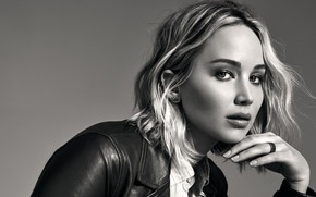 Wallpaper look, pose, background, portrait, makeup, actress, jacket, hairstyle, blonde, black and white, beauty, photoshoot, Jennifer ...