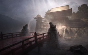 Picture bridge, rain, temple, statues, guardians