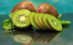 Picture reflection, table, kiwi, fruit, slices, chopped