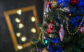 Picture winter, balls, lights, holiday, toys, frame, Christmas, New year, beads, tree, needles, bell, elegant, a …