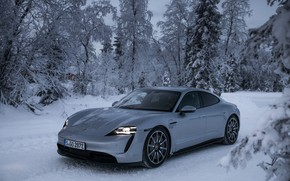 Picture winter, road, snow, trees, grey, Porsche, 2020, Taycan, Taycan 4S