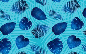 Picture leaves, blue, texture, blue background, pattern, leaves