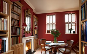 Picture interior, fireplace, library, Arts and Crafts interior design