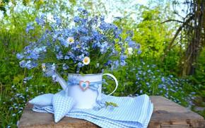 Picture nature, table, blue, heart, chamomile, bouquet, nature, heart, blue, flowers, forget-me-nots, chamomile, forget-me-nots