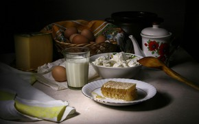 Picture glass, the dark background, table, food, eggs, cell, cheese, kettle, milk, spoon, dishes, still life, …