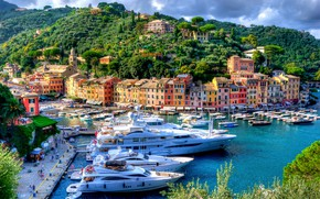 Picture building, home, yachts, port, Italy, promenade, Italy, harbour, Portofino, Portofino, Liguria, Liguria, Marina di Portofino