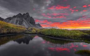 Picture sunrise, dawn, mountain, morning, Iceland, Iceland, Stokksnes, Have stoknes, Mountain Westerhorn, Fjord Hornafjordur, Vestrahorn Mountain, …