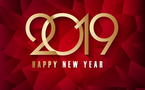 Picture gold, New Year, figures, golden, red background, background, New Year, Happy, sparkle, 2019