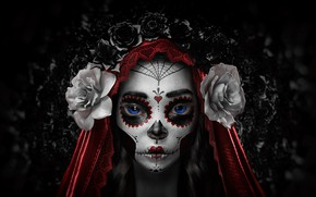Wallpaper Flowers, Girl, Minimalism, Style, Eyes, Background, Calavera, Rendering, Day of the Dead, Day of the ...