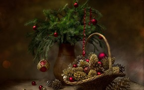 Picture balls, branches, holiday, balls, new year, spruce, fabric, vase, still life, basket, serpentine, bumps, burlap, …