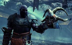 Picture man, mask, horns, helmet, Kratos, God of War