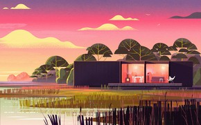 Picture shore, reed, structure, pond, Nomadic Homes Illustrations