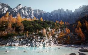 Picture autumn, Italy, The Dolomites, lake Sorapis
