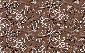 Picture white, flowers, pattern, texture, brown