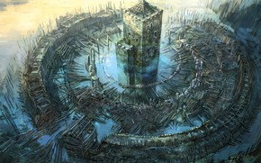 Picture fantasy, fence, castle, digital art, artwork, fantasy art, Tower