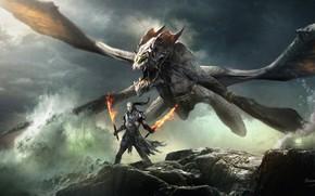 Picture fire, fantasy, horns, armor, sea, Warrior, wings, rocks, dragon, weapons, digital art, artwork, swords, fantasy ...