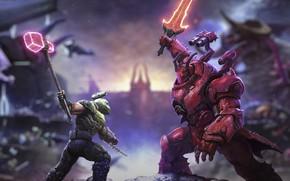 Picture battle, DLC, dark lord, Doom Eternal, doom slayer, th Ancient Gods part 2