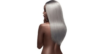 Picture girl, hot, sexy, beautiful, model, hair, pose, ebony, makeup, backless, silver hair