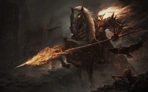Picture death, flame, skull, the devil, horror, horseman of the Apocalypse, undead, by Leo