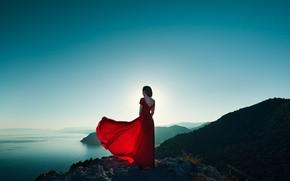 Picture girl, lake, the wind, back, dress, Oleg Gekman