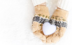 Picture winter, snow, snowflakes, heart, love, heart, pink, winter, mittens, snow, hands, snowflakes
