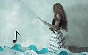 Picture sea, girl, rod