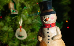 Picture branches, smile, the dark background, holiday, toy, hat, lights, Christmas, New year, snowman, tree, needles, …