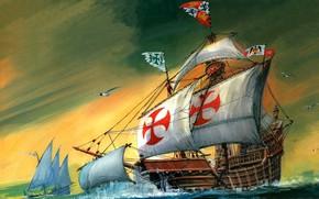 Picture Christopher Columbus, Santa Maria, Sailing ship, Karakka